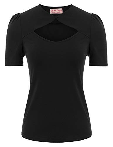 Womens Keyhole Top Short Sleeve Tops Reg and Plus Size Black Blouse for Work Size 2XL (Vintage Plus Size Clothing)