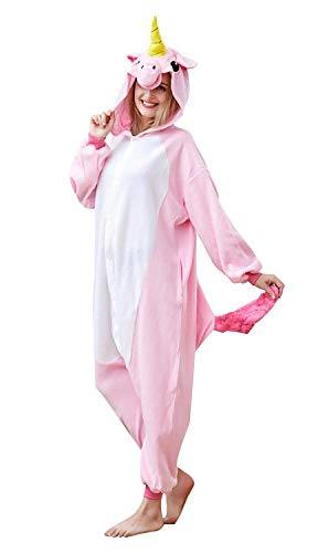 EcoOnesie Halloween Pink Unicorn Onesies Family One Piece Pajamas Animal Cosplay Costumes Unisex Adult Size Medium by EcoOnesie