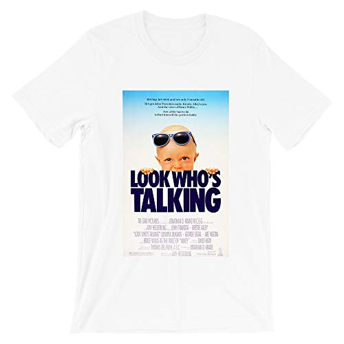 Look Whos Talking John Travolta Amy Heckerling 80s Cult Movie Kirstie Alley Funny Gift for Men Women Girls Unisex T-Shirt (White-M)