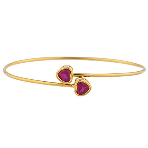 Elizabeth Jewelry Created Ruby Heart Bezel Bangle Bracelet 14Kt Yellow Gold Plated Over .925 Sterling Silver