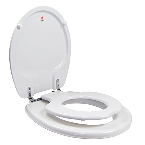 Hand Painted Toilet Seat - Topseat 6TSTR9999CP 000 TinyHiney Potty Toilet Seat, Adult/Child with Chromed Metal Hinges, Wood, Round, White