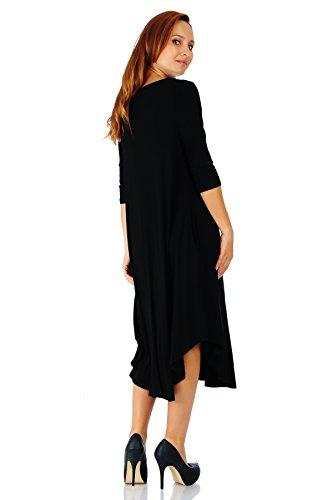 Small 5X Rounded Span Simply Maxi Rayon Length Small Ravishing 4 Dress Mid Sleeve Black Hem 3 Size xC6qUwZC