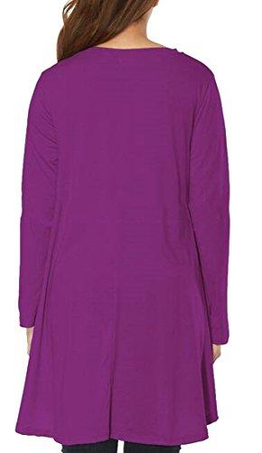 Solid Cromoncent Purple Short Flare Dresses Shirt V T Womens Stylish Hem Neck rrSIHq