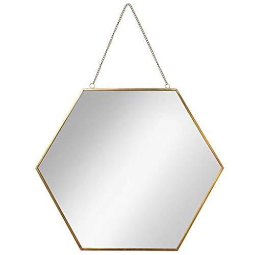 JZ008 Wall Mirror Wall Hanging Bathroom Hexagon Mirror Brass Frame Wall-Mounted Metal Mirrors Living Room Decorated Mural Mirror Wall Hanging Modern Design 1:1 Creative Fashion ()