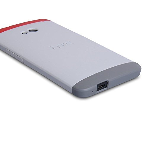 (HTC Double Dip Case for HTC M7 - Retail Packaging - Grey/Red)