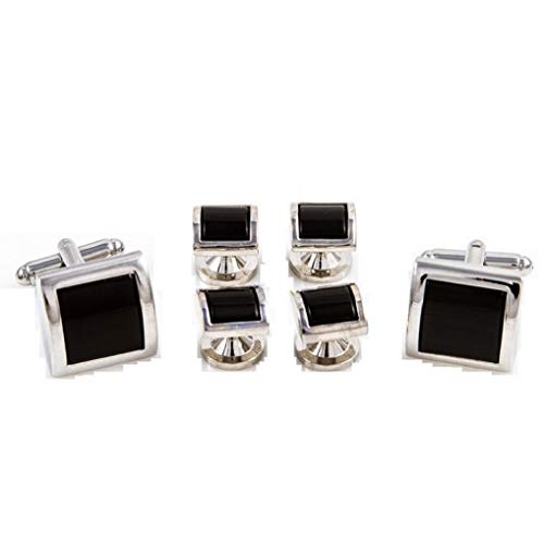 MRCUFF Black Onyx Square Dome Curve Top Tuxedo Cufflinks & Studs Set in a Presentation Gift Box & Polishing Cloth