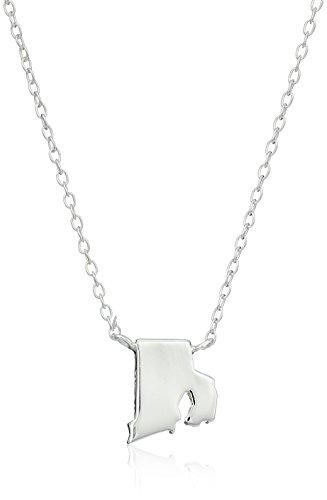 ioned Mini State Rhode Island Pendant Necklace, 16