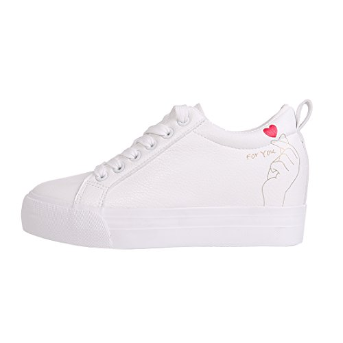 Smiry Femmes Mode Casual Baskets Blanc En Cuir Lacets Chaussures Plates Caché Talon Wedge Chaussures Amour Blanc