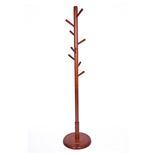 (JS HOME Wooden Coat Rack Floor Standing with Walnut Finish)