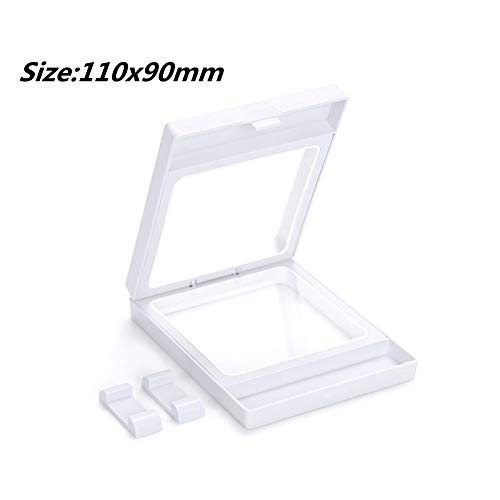 POLOILY PET Membrane Jewelry Ring Pendant Display Stand Holder Bague Packaging Box Protect Jewellery & Stones Floating Presentation Case 110x90mm White
