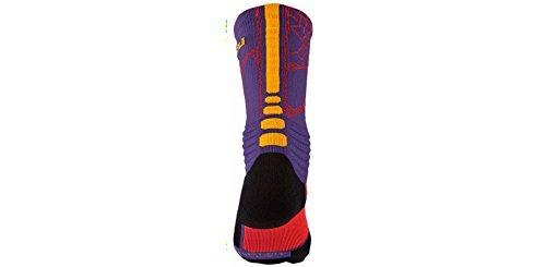 Nike Mens Iper Elite Calze Ammortizzate Corte Viola (588) / Laser Arancione / Rosa / Grigio / Nero