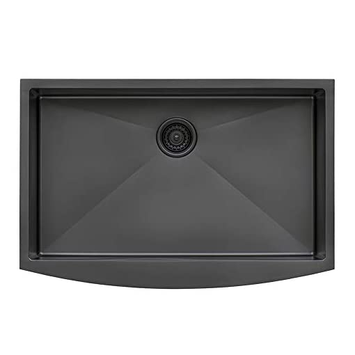 Farmhouse Kitchen Ruvati Gunmetal Black Matte Stainless Steel 36-inch Apron-Front Farmhouse Kitchen Sink – Single Bowl – RVH9880BL farmhouse kitchen sinks