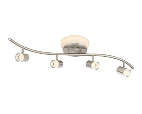 Designers Fountain 1049TFD3H-35 4 Heads S Bar Flushmount Combo LED Track Light, Brushed Nickel