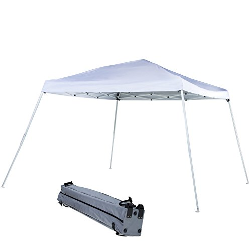 Abba Patio Folding Canopy Slant Leg Pop Up Instant Canopy with Roller Bag, 12 x 12 ft, White