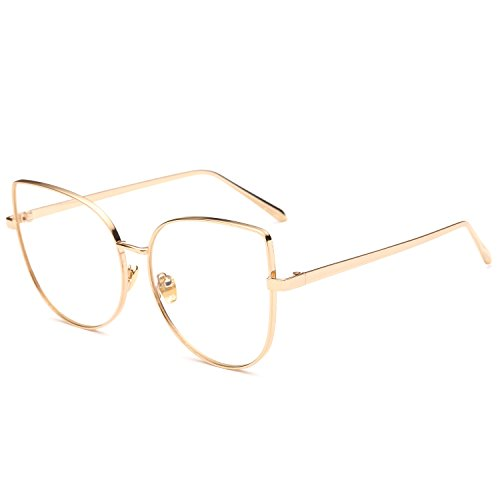 Pro Acme Oversized Cat Eye Gold Clear Lens Glasses Frame Vintage Eyeglasses Women (Gold Frame/Clear - Gold Cat Eye