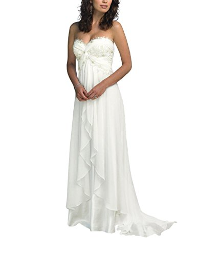 SZWT Nitree Women's Sweetheart Chiffon Long Beach Wedding Dress Bridal Gown Ivory 16