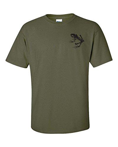 Navy Seal Skeleton Frog Logo Front & Back Men's T-Shirt - 2XL Military Green (ATA717)
