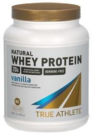 True Athlete Natural Whey Protein Vanilla, 20g of Protein per Serving Probiotics for Digestive Health, Hormone Free NSF Certified for Sport (2.5 Pound Powder)