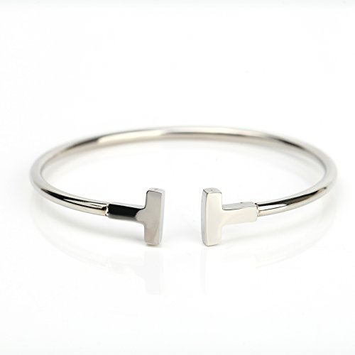 Stylish Designer Bangle Bracelet in Silver (White Gold) Tone with Contemporary T Bar Design (160095)