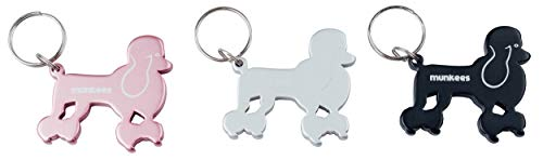 (Munkees Dog Bottle Opener Keychain, Mini Pet Doggy Can Opener Key Ring, Small Pocket Beer & Wine Caps, Cute Puppy Key Chain - Assorted Colors (Poodle))