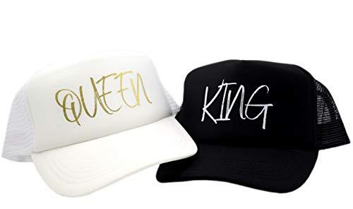 PICSonPAPER King Queen - Juego de Gorras de Malla, Color Negro y ...