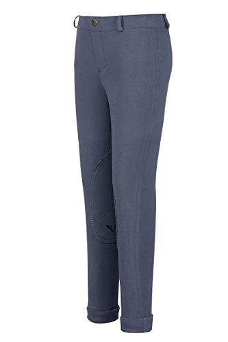 TuffRider Girl's Starter Lowrise Pull-On Jods Breech, Denim, 4