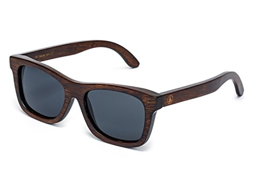 Tree Tribe Bamboo Sunglasses with Hard Case and Microfiber Pouch - Polarized Original Floating Lightweight Wayfarer Style for Men and Women - Brown Frame Black Lens