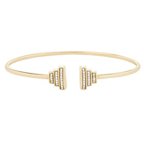 Diamond Gold Bangle Yellow (Brilliant Designers 10K Yellow Gold & 1/10 CTTW Diamond (IJ/I2I3) Wire Bangle 6.5