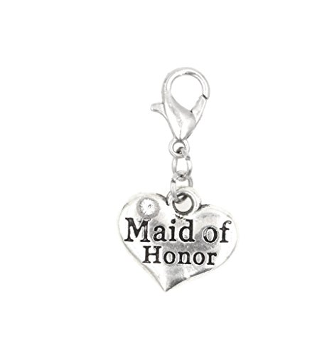 Maid of Honor Clip On Charm Perfect for Necklaces and Bracelets (ZC (Maid Of Honor Charm)