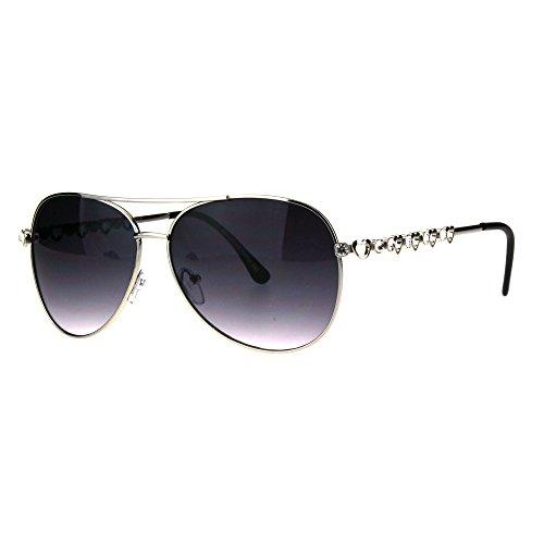 Womens Rhinestone Bling Heart Jewel Diva Metal Rim Aviator Sunglasses Silver - Heart Rhinestone Sunglasses
