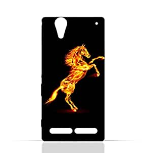 Sony Experia T2 Ultra TPU Silicone Case with Horse on Flame