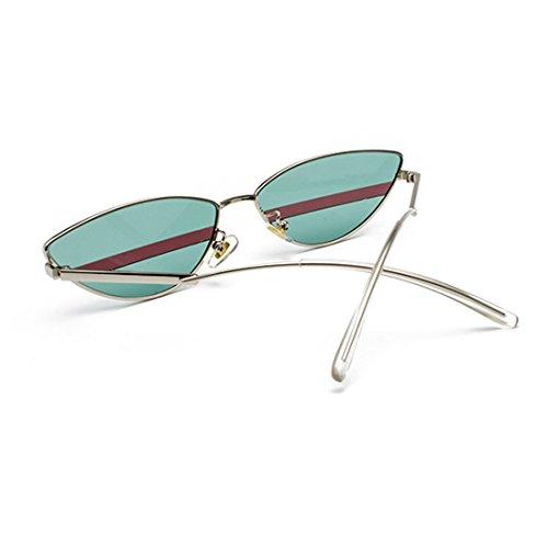 Retro de Película Cat 90s Plata Verde marco Sunglasses Hombres Glasses Slim Vintage metal Inlefen Mujeres Sun Eye 1qTnxxg