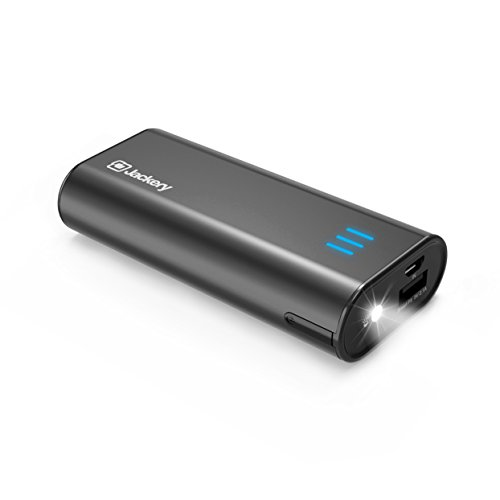 Portable Charger Jackery Bar 6000mAh Pocket-sized External Battery Pack Fast charger Power Bank with Emergency LED Flashlight for iPhone, Samsung and Other Devices - Black