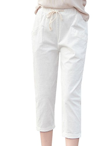 Tanming Women's Casual Elastic Waist Cropped Linen Capri Pants (Small, White)