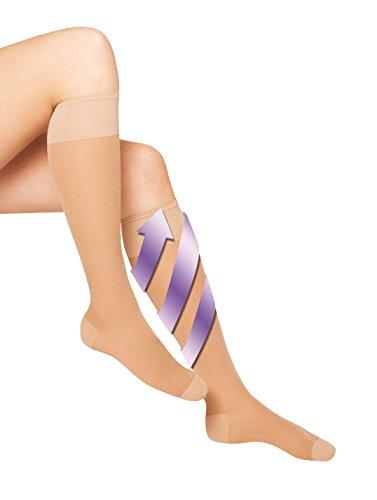 Aries Avicenum medizinische Stützkniestrümpfe 140 den Kompressionsstrümpfe CCL1 gegen schwere müde Beine + Schwellungen mit Skintex Anti-Heavy-Legs Wirkstoff (Gr. 2 , haut)