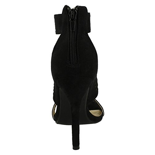 Anne Suede Black Sandals High Suede Ladies Heel Michelle Evening Synthetic 1wBH1qd