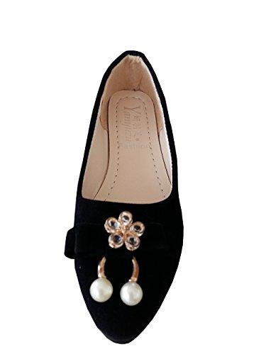 INCEPTION PRO INFINITE ® - Ballerine Da Donna Coolore Nero Finto Scamosciato Con Perle Bianche E Fibia A Fiore - PXG-084