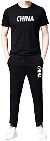SPE969 Summer Cool Track Suits Men`s Chinese Print T-Shirt Jogging Pants Casual 2 Pieces Sets