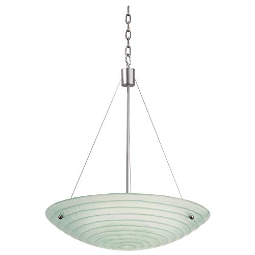 (Kalco 5987SN Aqueous 5-Light Pendant, Satin Nickel Finish with Costa Art Glass Shade, 24