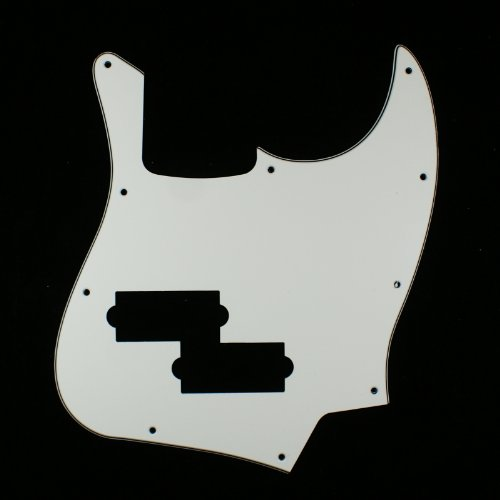 (E81) Custom 3Ply Guitar Pickguard Fits Black Top Jazz Bass with PB Pickup hole ,White (Jazz Bass Pickguard With P Bass Pickup)
