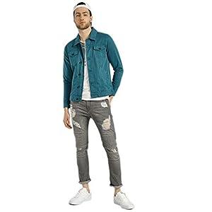 KLIZEN Cyan Plain Denim Jacket