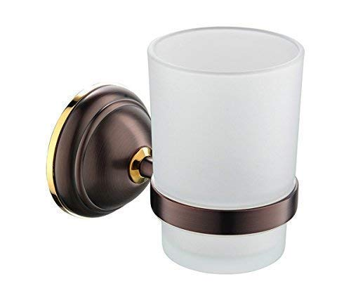 CROWN Toothbrush Holder/Tumbler Cup for Bathroom Wall Mount Oil Rubbed Bronze Glass Toothpaste Holder, Solid Brass ()