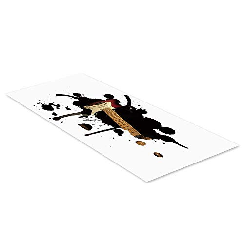 C COABALLA Popstar Party Waterproof Floor Sticker,Electric Guitar Fretboard on Black Grungy Color Splashes Art for Kitchen Living Room,47.2