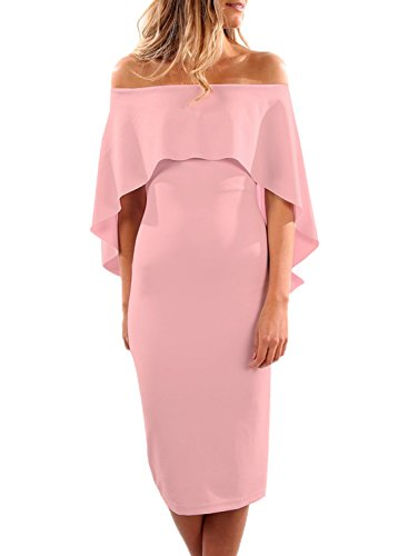 Formal Dress Pink (Dokotoo Womens Spring Club Off Shoulder Ruffle Party Bodycon Cocktail Pencil Midi Dresses Juniors Pink Medium)