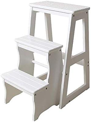 MultifuncióN Estante Almacenamiento Baldas Escalera escalonada de tres niveles Escalera de madera maciza Escalera de cocina de madera maciza Taburetes plegables Escalera plegable Silla multifunción: Amazon.es: Hogar