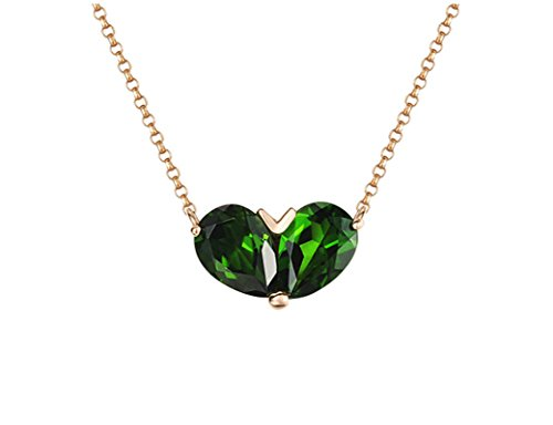 Daesar 18K Gold Necklace For Women Heart Water Drop Natural Green Tourmaline Necklace Chain Length: 40CM by Daesar