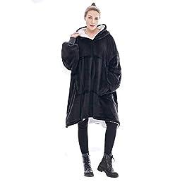 Huggle Hoodie Oversized Huge 48 inch Long Hoodie Sweatshirt Blanket Super Soft Warm Comfortable Blanket Hoodie One Size…