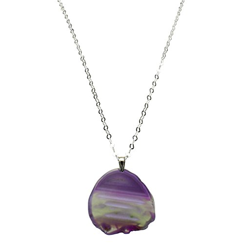 Purple Agate Slice Pendant Flat Link Sterling Silver Chain Necklace 30 inch