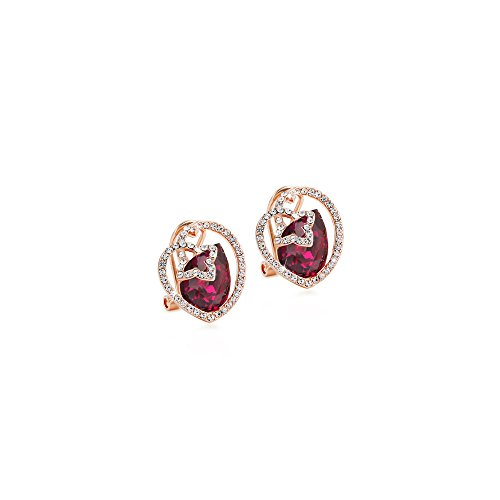 Gorgeous Jewelry Diamond Accented Red Drop Crystal Heart Women Rose Gold Plated Stud Earring