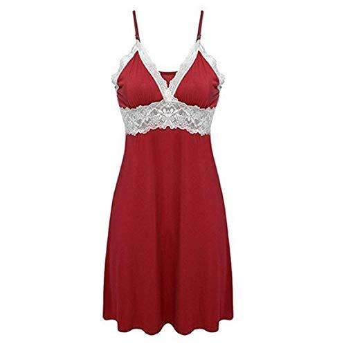 - Jinbaolong Sexy Deep V Neck Faux Silk Night DressSpaghetti Strap Lace Sleepwear Dress Casual Nightgown Off-Shoulder Sleep Dress 5 Colors Fishnet Negligees